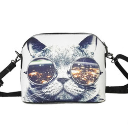 Wholesale Wholesale Cat Bags - Wholesale-Hot sale 2016 Cats Printing women Handbags Shell bag women PU leather messenger bags new arrival women cross-body bags WLHB1116