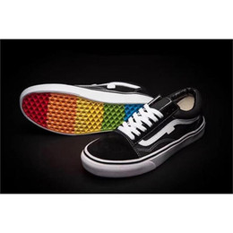 Wholesale Denim Canvas Shoes Boy - Lows Van rainbow casual shoes for men slip on black Canvas shoes for boys girls for work wedding Sneakers 3 colors