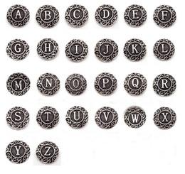 Wholesale Alphabet Fit Bracelet - 26pcs lot Antique Silver A-Z Alphabet Snap Buttons Fit 18mm Letter Buttons Snap Button Jewelry DIY Bracelets&Bangles