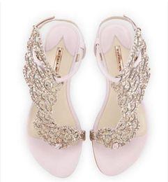 sandalias planas de la boda rhinestones Rebajas 2017 mujeres atractivas sandalias de diamantes de imitación de oro sandalias de gladiador sandalias de alas planas zapatos de la boda del partido del brillo zapatos de mariposa del zapato