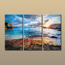 Wholesale Contemporary Floral Wall Paintings - Hot Large Modern Contemporary Canvas Wall Art Print Ocean Sunset Seascape Painting Wall Picture for Living Room Deco Gift Printed on Canvas