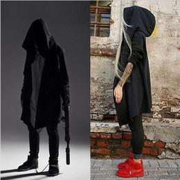 Wholesale Hooded Cloak Trench - Wholesale- Dark Elf Knight Wizard Cloak Men's Hooded Trench Coat hip hop streetwear