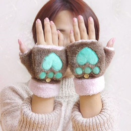 Wholesale Soft Paws Wholesale - Newest! Cat Plush Paw Claw Glove Novelty Halloween soft toweling lady's half covered gloves mittens free shipping 50pairs lot hot sale DHL