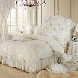 Wholesale Luxury Queen Bedspreads - Wholesale-Luxury lace ruffle bedding set, twin queen king cotton girl, french princess wedding home textile bedspread quilt cover 4pcs
