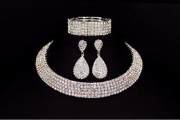 Wholesale Wedding Chokers Necklaces - Hot Selling Bride Classic Rhinestone Crystal Choker Necklace Earrings And Bracelet Wedding Jewelry Sets Wedding Accessories Bridal Jewelry