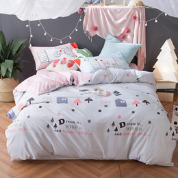 Wholesale King Size Bedding Coverlet - Romantic bedding set cotton light blue&pink cartoon duvet cover pink sweet coverlet mr and mrs pillowcase for couples multi-size
