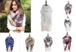Wholesale Cozy Wrap Blanket - Women's Plaid Scarf Cozy Oversized Tartan Tassel Scarf Fashion Wrap Grid Shawl Check Pashmina Cashmere Lattice Neck Stole Blanket L001