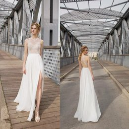 Wholesale Lady Beads For Formal Dress - Elegant Spring Chiffon Split Wedding Dresses Beading Lace Open Back Beach Ladies' Formal Dress Bridal Gowns For Weddings Custom Made