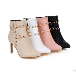 Wholesale Knight Belt Buckle - Europe United States new rivet belt buckle pointed high-heeled Martin boots Sexy fashion Women Ankle boots