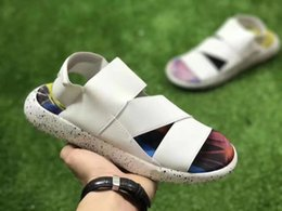 Wholesale Football Sandals - Womens New Y-3 Sandals Shoes White Floral Printing Summer Beachwear Shoes Black Purple Slippers Flats Mens Sports Shoes Size US5-10