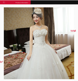 Wholesale Sexy Tight Wedding Dresses - 2017 Autumn Wedding Dresses Elegant Comfortable Tight Lace Sequins Tiers Applique Floor-Length Sexy Strapless Lace-Up Back Ball Gown B-43