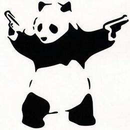 Wholesale Panda Car Sticker - (30 pieces   lot ) Panda With Guns Wholes VINYL DECAL CAR WINDOW BUMPER STICKER car styling car accessories Z-1103-8