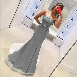 Wholesale Elegant Cheap Wedding Party - Gray Mermaid Bridesmaid Dresses Long Strapless Backless Elegant Cheap Lace Wedding Party Gowns Applique Maid of Honor Dress