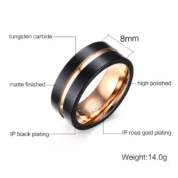 Wholesale Tungsten Rose Rings For Men - Fashion Black and rose gold Tungsten steel Ring Wedding Bands 8MM Tungsten Carbide Rings for Men Jewelry