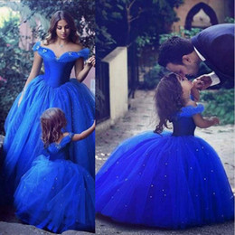 Wholesale Toddler Off White Lace Dress - Cute Royal Blue Ball Gown Girls Pageant Dresses Off Shoulder Tulle Floor Length Toddler Birthday Dresses 2017 New Cupcake Dress