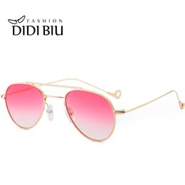 Wholesale Gold Mirrored Aviator Sunglasses - DIDI Aviator Small Sunglasses Women Men Clear Ocean Trasparent Glasses Double Beam Sun Glasses Gold Aviation Eyewear Hippie Beach Uv400 W763