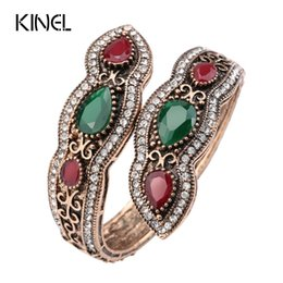 Wholesale hand sculptures - Kinel Turkish Jewelry Big Bangles Bracelets Sculpture Retro Gold Color Full Crystal Cuff Bracelets Hand Accessories 2017 New