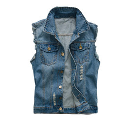 breast vest Promo Codes - Korean Men's Jeans Vest Ripped Denim Jacket Slim Fit Sleeveless 2018 Summer New Style Jeans Male Coat 6XL