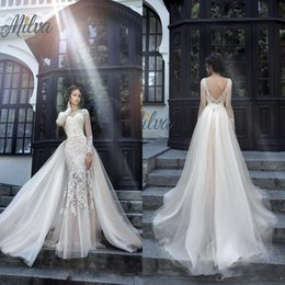 Wholesale Detachable Skirt Lace - New Milva Bridal Wedding Dresses 2017 Sexy Spring Vintage With Detachable Train Sheer Long Sleeves Low Back Lace Mermaid Bridal Gowns
