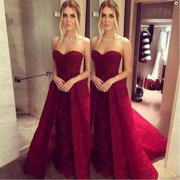 Wholesale Detachable Trains For Dresses - Burgundy Detachable Prom Dress Trains 2017 Fashion Sweetheart A-Line Lace Formal Evening Pageant Gowns For Women Long Graduation Dresses