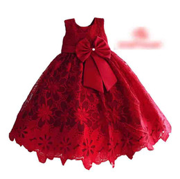 Wholesale Pleated Waistband - Girls Flower Lace Dresses Big Bowknot Waistband Girl's Dress Hollow Costume Children Pleated Ball Gown Red Performance Party Dressy A6329