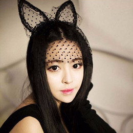 Wholesale Cat Lace Veil - 20pcs lot Sexy Women Girl Black Dot Cat Ears Lace Gauze Veil Hair Mask Headband Headdress Hairband Night Club Hair Band Accessories