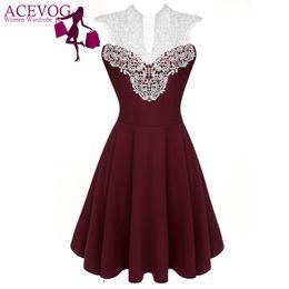 Wholesale Lady Chiffon Dress High Waist - Wholesale- ACEVOG Women Summer Lace Dress Sexy vestidos 2017 Lady Sleeveless Lace Patchwork High Waist Pleated Casual Knee Length Dress