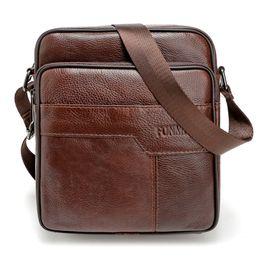 Wholesale Bag Mens Cowhide - Wholesale- New fashion mens bag High quality men messenger bags cowhide genuine leather famous brand crossbody small shoulder bag
