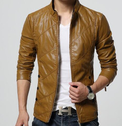 Wholesale Mens Motorcycle Pu Leather - New Fashion PU Leather Jacket Men Black Red Brown Solid Mens Faux Fur Coats Trend Slim Fit Youth Motorcycle Suede Jacket Male