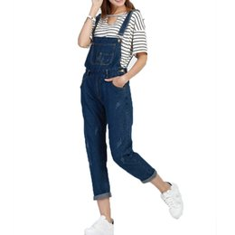 Wholesale Sexy Stretch Jumpsuits For Women - Wholesale- S-5XL Women Ripped Denim Slim Jumpsuits Long Pants Casual Skinny Sexy Stretch Romper Pencil Overalls For 4 Season Female