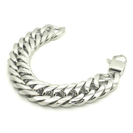 Wholesale mens wide stainless steel bracelets - mens bracelets stainless steel Silver Tone 316L Stainless Steel Curb Cuban Bracelet, 21mm Wide Mens Boys Bracelet Jewelry B489