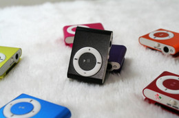 Wholesale Cheap Usb Player - Newest Fashion Mini Cheap Clip Digital Mp3 Music Player USB with SD card Slot black silver mixed colors DHL 6600017