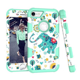Wholesale Iphone Elephant Silicone Case - 3 In 1 Hybrid Shockproof Case Hard PC Cute Cartoon Elephant Soft Silicone Cover For iPhone 7 Plus 6 6S Samsung S8 Plus