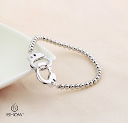 Wholesale Woman Handcuffs Bracelet - Female cuff Solid color wristband handcuffs infinity bracelets design for women sliver plated cute bracelet gift for lover