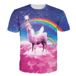 Wholesale Wholesale Galaxy Shirts - Wholesale- Alisister space galaxy T Shirt animal Lama pacos t shirt print women men 3d T-Shirt fashion funny graphic tee shirts Plus size