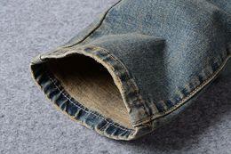 Wholesale Medium Pencil - European American Style no brand mens jeans luxury men denim trousers Slim Straight Patchwork blue hole jeans pants