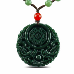 Wholesale jade dragon pendant jewelry - Natural Hetian jade hand-carved dragon eight trigrams pendant necklace pendant jewelry for men and women