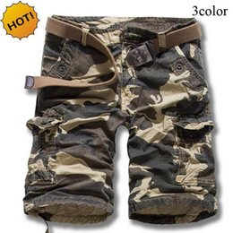 Wholesale Mens Camouflage Combat Trousers - TOP Quality Summer Loose Military Cotton Straight Camouflage Cargo Shorts Men Khaki Mens Combat Overalls Short Trousers Cuff