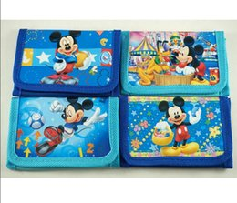 2017 mickey purse Livraison gratuite! 24pcs Blue Mickey / Mouse Classic Character Cartables Folding Purses Fashion Card Holder with zipper Wholesale mickey purse à vendre