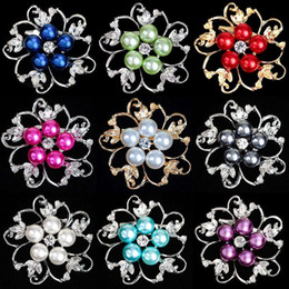 Wholesale Ladies Clothing Crystal - 9 styles ladies brooch clothing popular alloy diamond colorful pearl brooch fashion jewelry gift party party holiday business gifts