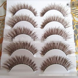 Wholesale natures hair - 5 Pairs Women Makeup Beauty Thick 3D False Eyelashes popular messy nature Eye Lashes Long brown Handmade lashes Extension