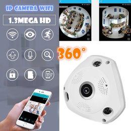 Wholesale Wireless Camera Sd Card - V380 3D VR Camera 360 Degree Panoramic IP Camera 960P 1.3MP WIreless Wi-fi Camera IP SD Card Slot Multi Viewing Mode