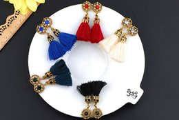 Wholesale Caps Studs - Ethnic Style Round Crystal Long Tassel Earrings Silk Vintage Post Earring Gold Bohemain Women's Fashion Casting Cap Drop Earring
