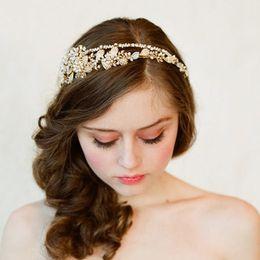 Wholesale Headband Flower Jewel - Gorgeous diamond-studded Crystal bead flower headband High quality Rhinestone Jewels hairband Bling Wedding bridal Hair Accessories S1005