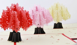 Wholesale Blossom Cards - Wholesale-Cherry blossoms trees delux  3D pop up greeting card  handmade kirigami card Free shipping