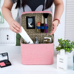 Wholesale Womens Black Large Bags - PU Leather Cosmetic Makeup Bags Cases Boxes Womens Makeup bags Large Capacity Portable Storage Travel Bags Stone Pattern 2804004
