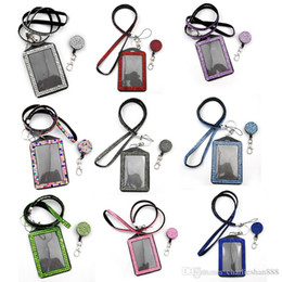 Wholesale Id Badge Reel Rhinestone - Each color 10pcs Charms Bling rhinestone retractable badge reel lanyards+vertical ID card holder 20 colors stock for choose free shipping