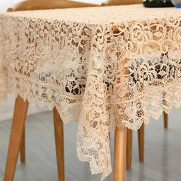 Wholesale European Style Coffee Table - 1 Piece Light Coffee Hollow Out Embroidered Table Cloth  European Style Lace Tea Table Cloth  Fashion Home Decor Tablecloth