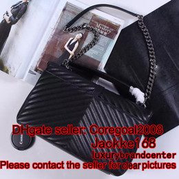 Wholesale Womens Genuine Leather Handbags - CLASSIC MEDIUM COLLÈGE BAG Quilted V black flap clutch satchel dylan womens handbag cross body Shoulder bag genuine leather purse 24cm 32cm