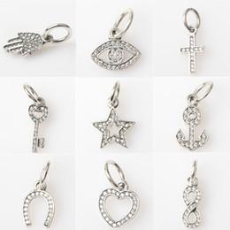 Wholesale 925 Silver Anchor Bracelet - Crystal Charm Bead Dangle Cross Heart Anchor Key Infinite Eye Solid 925 Sterling Silver Fashion Jewelry European Style For Pandora Bracelet